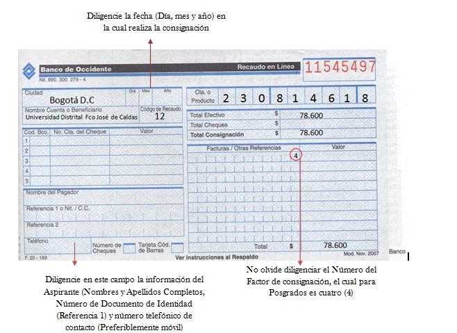 Consignaci N Costos De Inscripci N Universidad Distrital Francisco Jos De Caldas